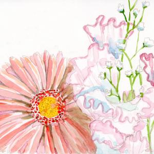 早朝の食卓の花