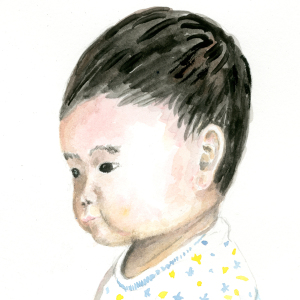 乳児を描く練習しました。